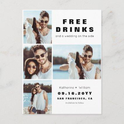 Modern 4 Photo Collage Wedding Save Our Date Announcement