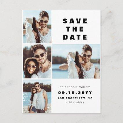 Modern 4 Photo Collage Wedding Save the Date Announcement