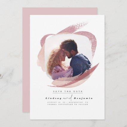 Modern Abstract Dusty Pink Save The Date Photo