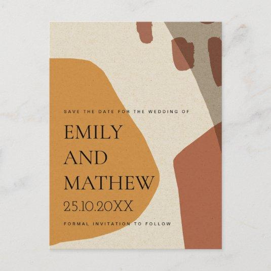 MODERN ABSTRACT RUST KRAFT ARTISTIC SAVE THE DATE ANNOUNCEMENT
