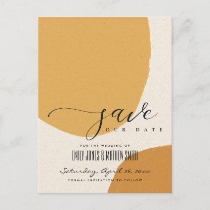 MODERN ABSTRACT SOFT ORANGE KRAFT SAVE THE DATE ANNOUNCEMENT