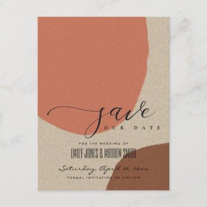 MODERN ABSTRACT STERRACOTTA KRAFT SAVE THE DATE ANNOUNCEMENT