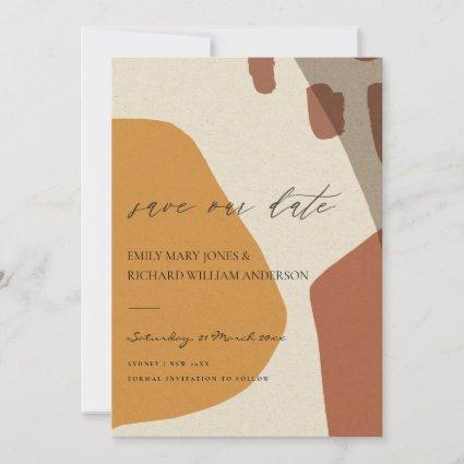 MODERN ABSTRACT YELLOW TERRACOTTA ARTISTIC ART SAVE THE DATE