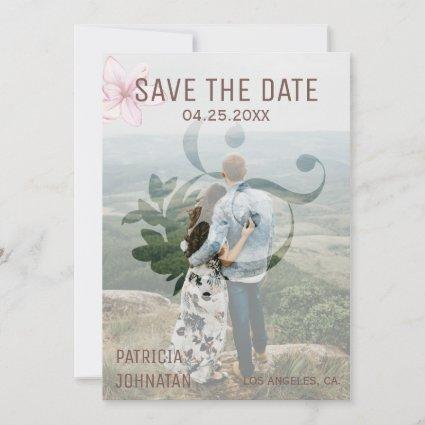Modern ampersand pink magnolia wedding photo save the date