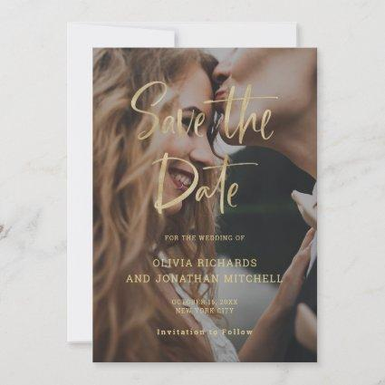 Modern and Elegant Gold | Custom Photo Wedding Save The Date