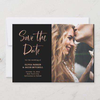 Modern and Elegant Rose Gold and Black | Photo Save The Date