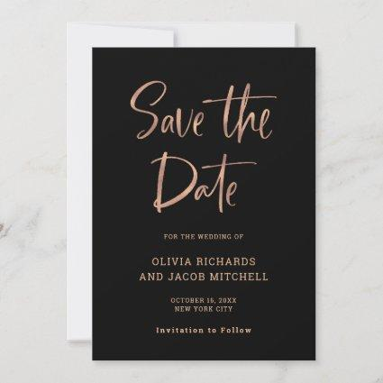 Modern and Elegant | Rose Gold and Black Wedding Save The Date
