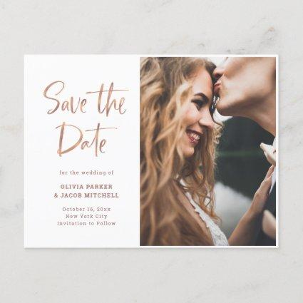 Modern and Elegant Rose Gold | Photo Save the Date Announcement