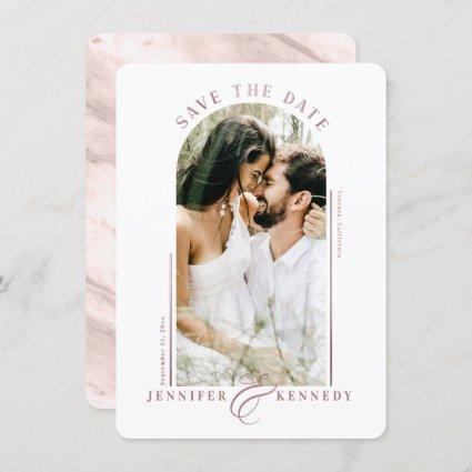 Modern Arched Photo Frame Dusty Rose Marble Back Save The Date