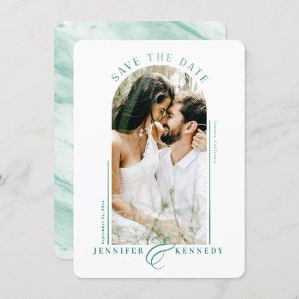 Modern Arched Photo Frame Emerald Marble Back Save The Date