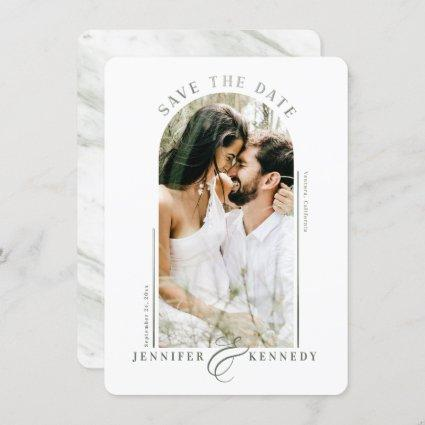 Modern Arched Photo Frame Sage Green Marble Back Save The Date