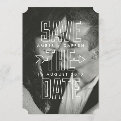 Modern Arrow Overlay Photograph Save the Date Card