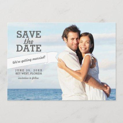 Modern Banner Save the Date Wedding Photo Card