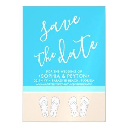 Modern Beach Simple Tropical Wedding Save the Date Magnetic Invitation