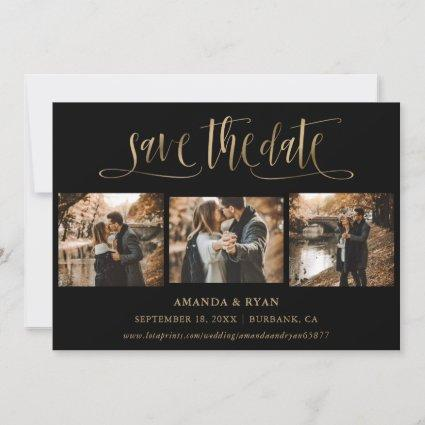 Modern Black and Gold Wedding Photo Save The Date