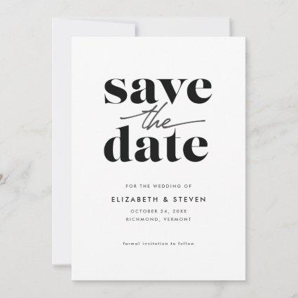 Modern Black and White Save the Date Card