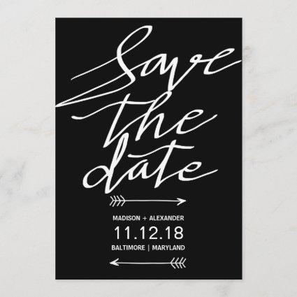 Modern Black And White Script Simple Save The Date