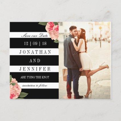 Modern Black and White Stripes Save the Date Announcements Cards