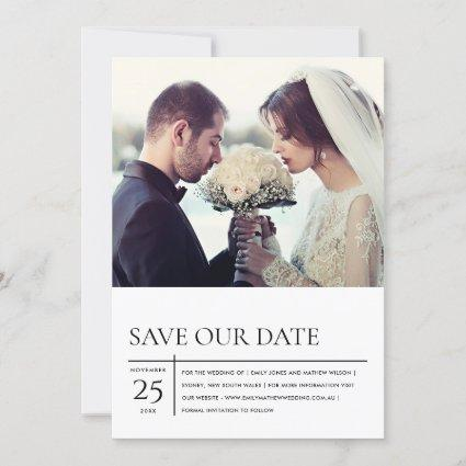 MODERN BLACK AND WHITE TYPOGRAPHY WEDDING PHOTO SAVE THE DATE