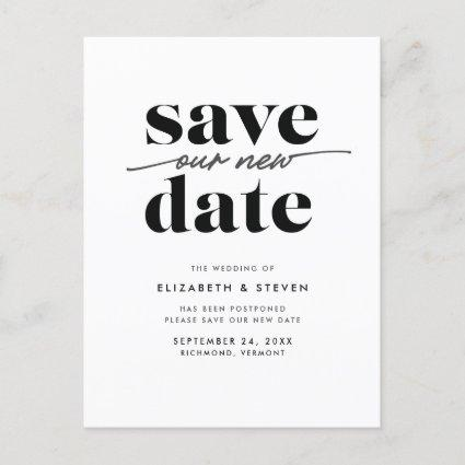 Modern Black and White Wedding Change the Date Announcement