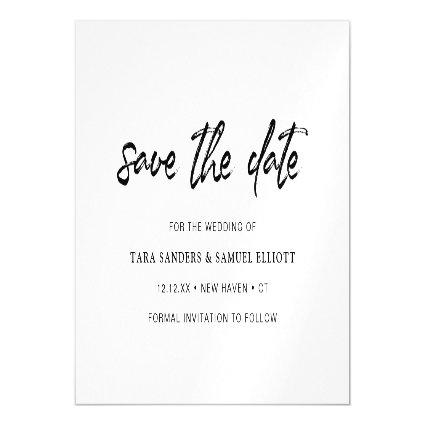 Modern Black Brush Script Minimalist Save the Date Magnetic Invitation