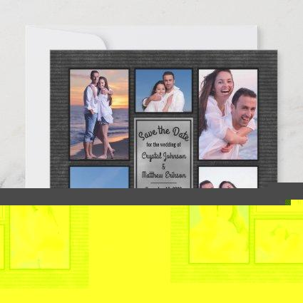 Modern Black Instagram Photo Collage Save the Date