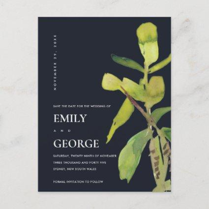 MODERN BLACK LEAFY FOLIAGE GREENERY SAVE THE DATE ANNOUNCEMENT