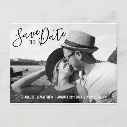 Modern Black Script Wedding SAVE THE DATE w/ PHOTO Announcements Cards