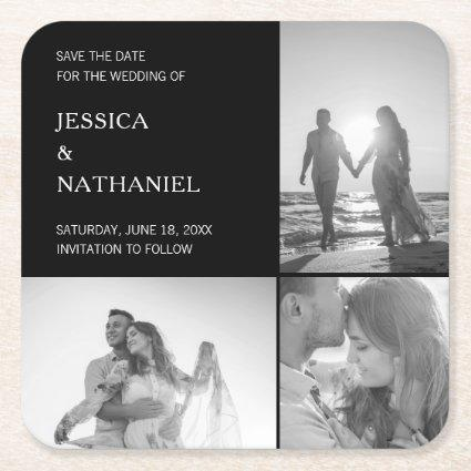 Modern Black Three Photo Collage Save the Date Square Paper Coaster