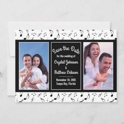 Modern Black White Music Notes Photo Save the Date
