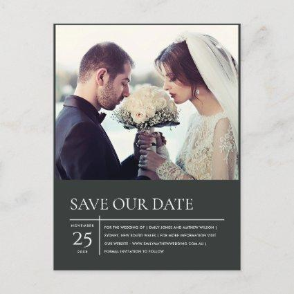 MODERN BLACK WHITE TYPOGRAPHY PHOTO SAVE THE DATE ANNOUNCEMENT