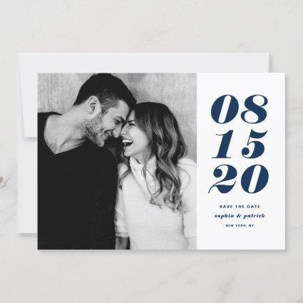Modern Blue and White Bold Date Typography Photo Save The Date