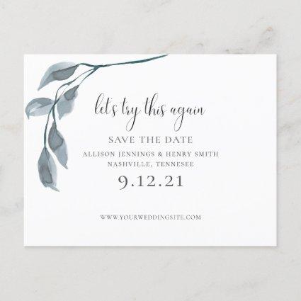 Modern Blue Change the Date Wedding Save the Date Announcement