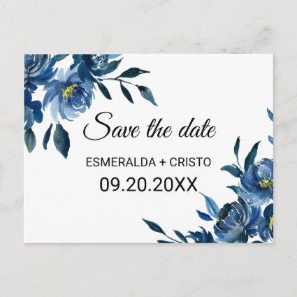 Modern Blue Floral Save the Date Card