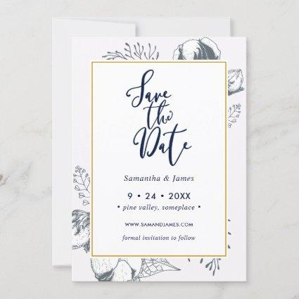 Modern Blue & Gold Floral Save the Date Card