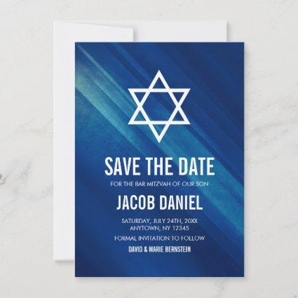 Modern Blue Grunge Bar Mitzvah Save The Date