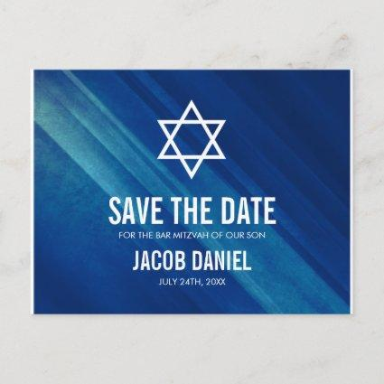 Modern Blue Grunge Bar Mitzvah Save the Date Announcements Cards
