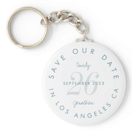 Modern Blue Typography Save The Date Keychain