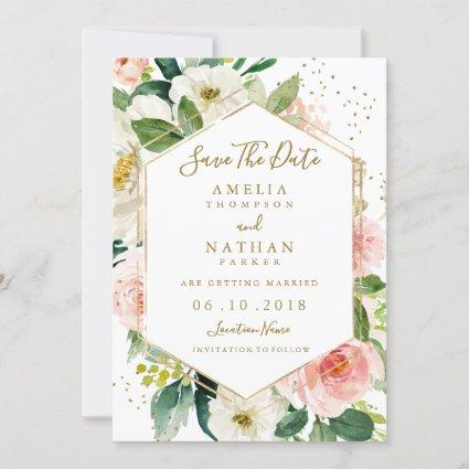 Modern Blush Gold Floral Watercolor Save The Date