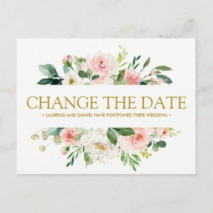 Modern Blush  | Gold WEDDING CHANGE THE DATE Announcement