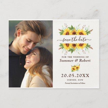 Modern Boho Watercolor Sunflowers Save the Date Announcement