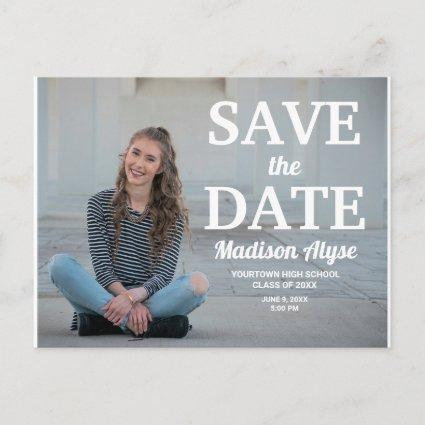 Modern Bold Typography Photo Graduation Save Date Announcement