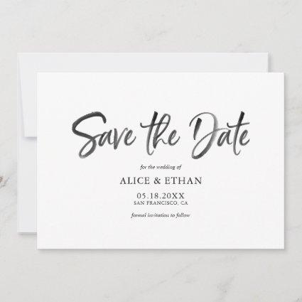 Modern Brush Handwriting Save The Date with Photo
