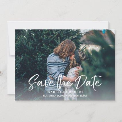 Modern brush photo save the date personalized