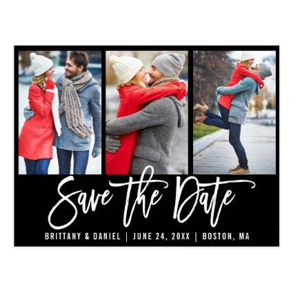 Modern Brush Script 3 Photo Save The Date Blk