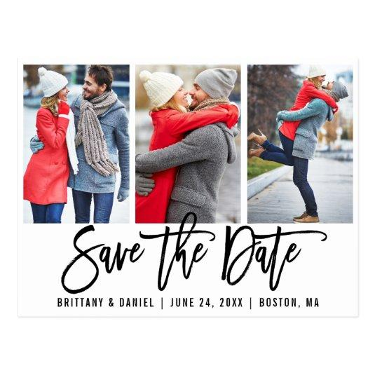 Modern Brush Script 3 Photo Save The Date Wht