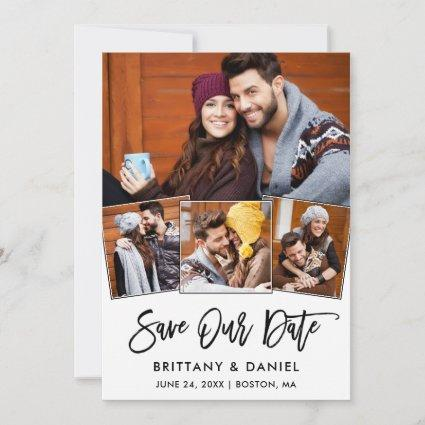 Modern Brush Script 4 Photo Save Our Date Card