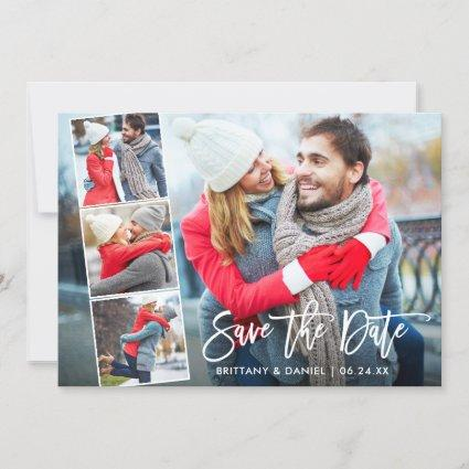 Modern Brush Script 4 Photo Save The Date