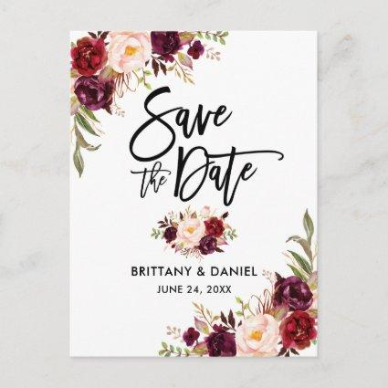 Modern Brush Script Burgundy Floral Save the Date Announcement