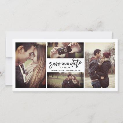 Modern Brush Script Calligraphy 4 Multi Photo Save The Date